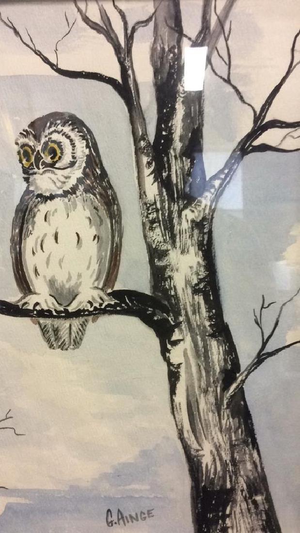 G. AINGE Framed Owl Artwork - 8