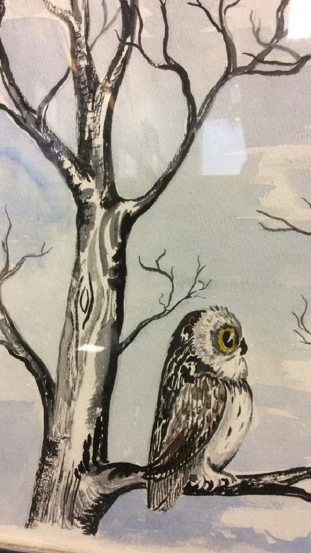 G. AINGE Framed Owl Artwork - 9