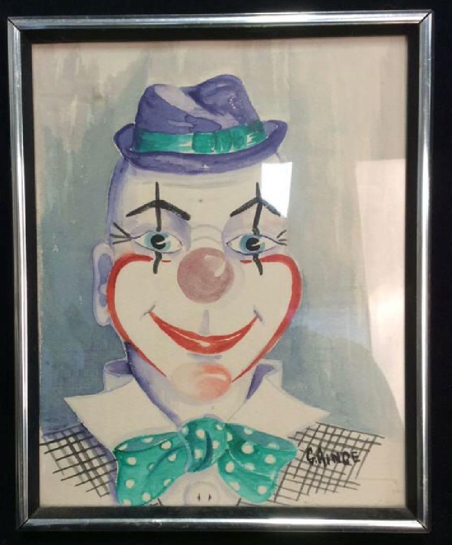 G. AINGE Professionally Framed Clown Artwork