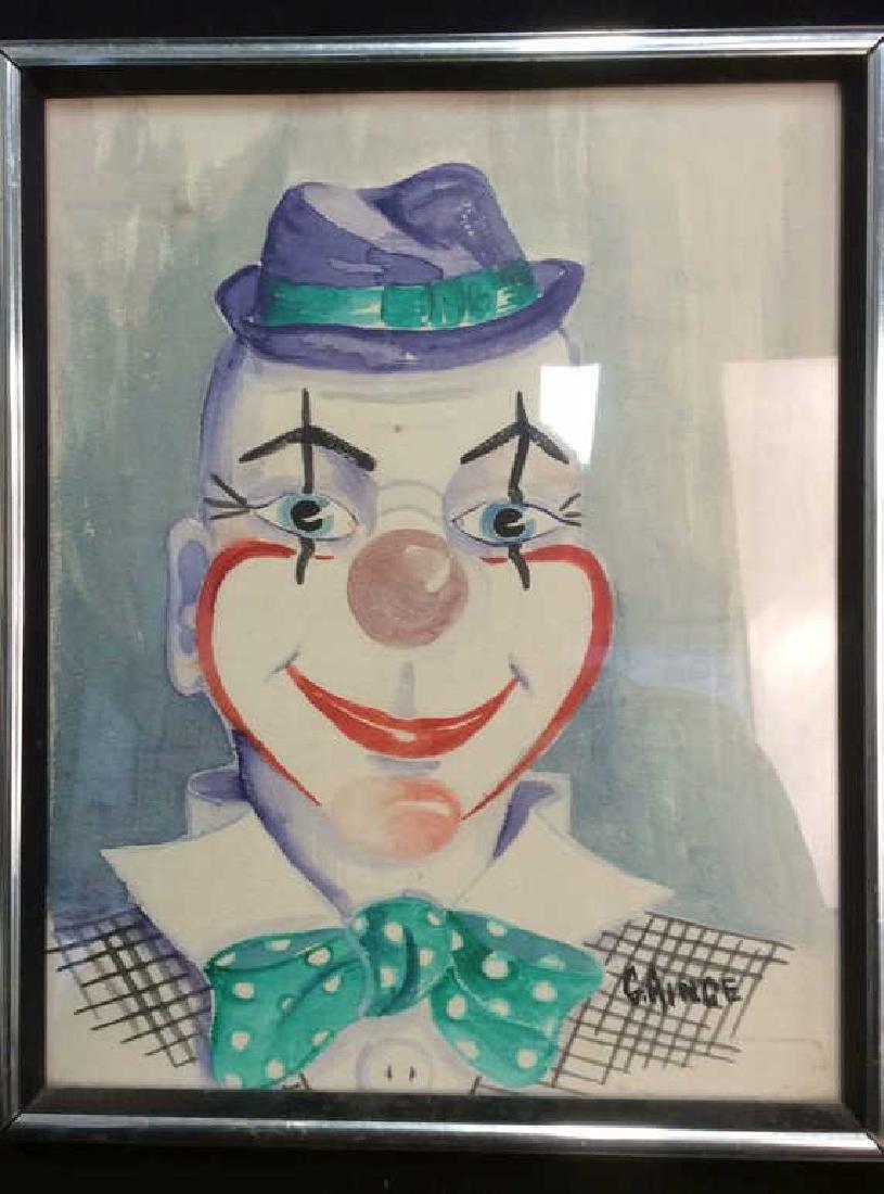 G. AINGE Professionally Framed Clown Artwork - 2