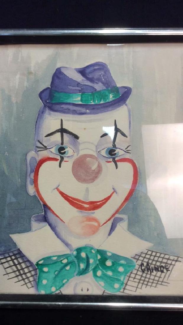 G. AINGE Professionally Framed Clown Artwork - 3