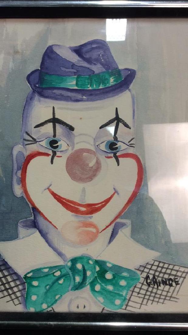 G. AINGE Professionally Framed Clown Artwork - 4