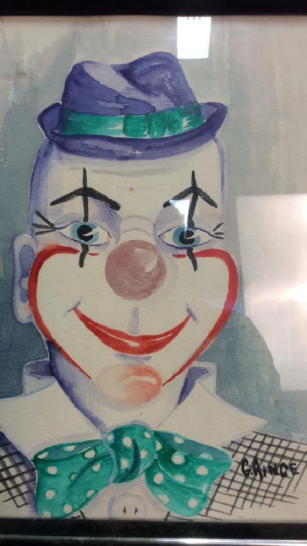 G. AINGE Professionally Framed Clown Artwork - 5