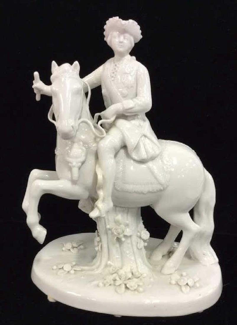 German Soldier on Horseback Porcelain Figurine