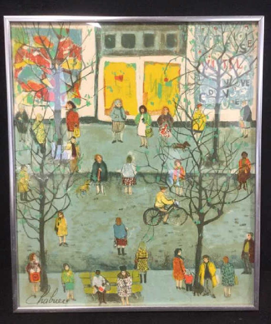 "Nathalie Chabrier Print Titled ""Paris Scene"""