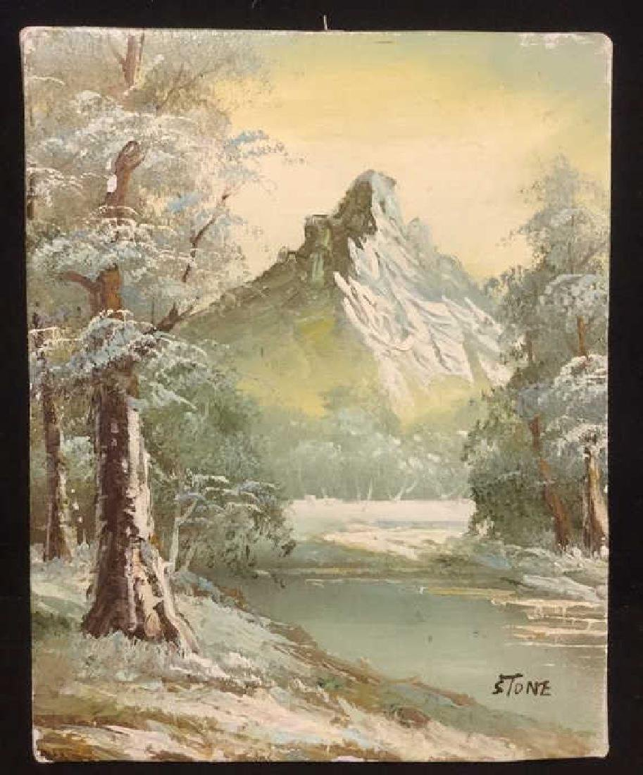 Mountain And Forest Scene Painting By Stone