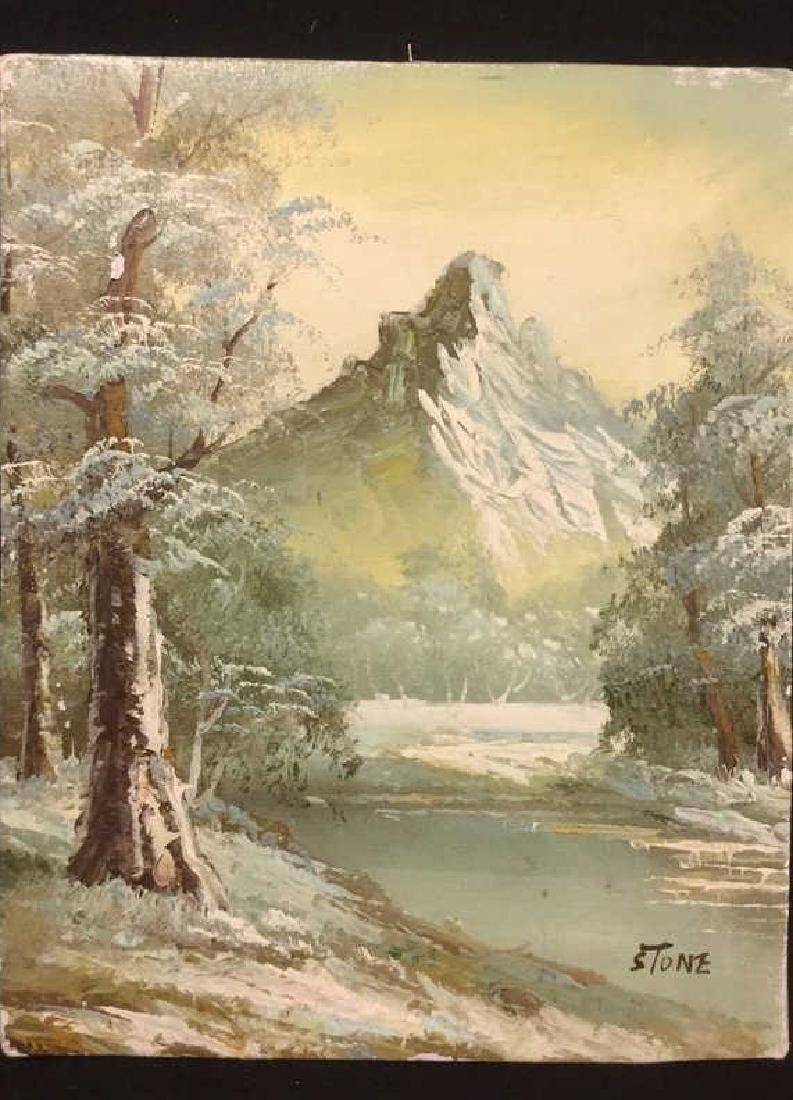 Mountain And Forest Scene Painting By Stone - 2