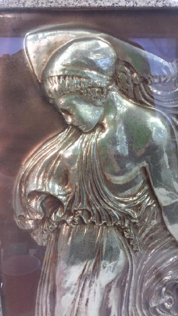 Vintage Metal Gold Toned Relief Greek Figural Art - 2