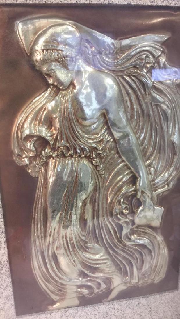 Vintage Metal Gold Toned Relief Greek Figural Art - 7