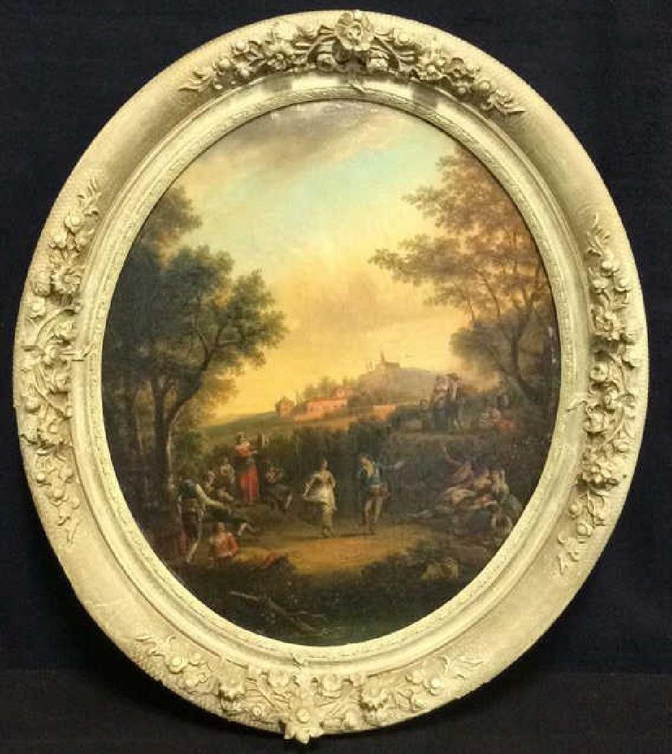 19th Century Oval  Framed Dancing Figures Painting