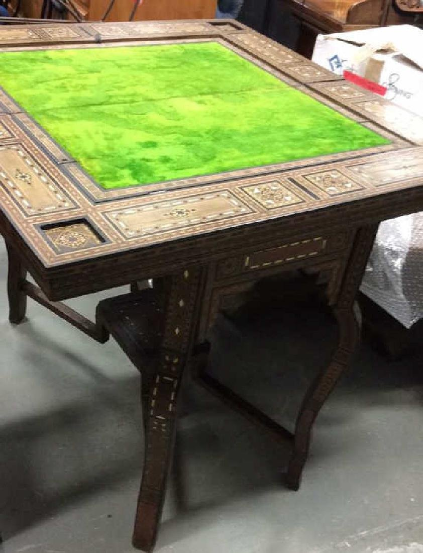 Wood W Mother of Pearl Inlay Serbian Game Table - 10