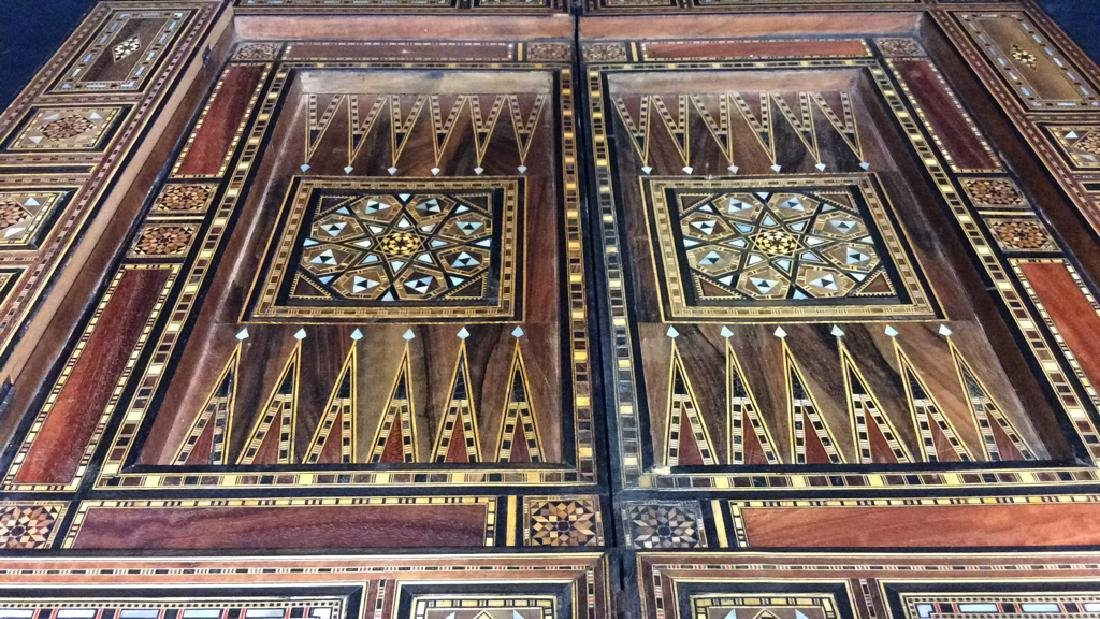 Wood W Mother of Pearl Inlay Serbian Game Table