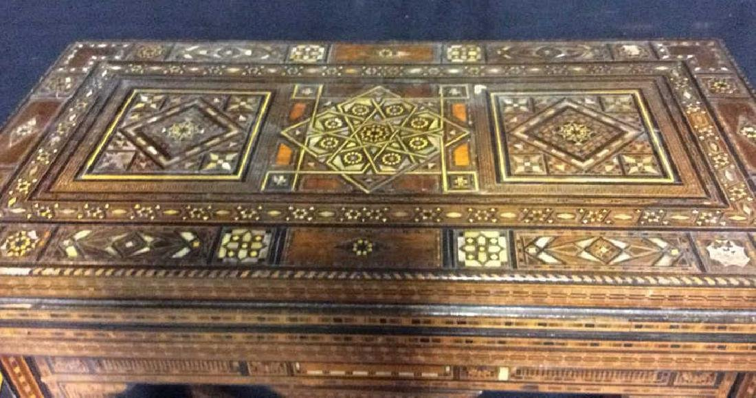 Wood W Mother of Pearl Inlay Serbian Game Table - 5