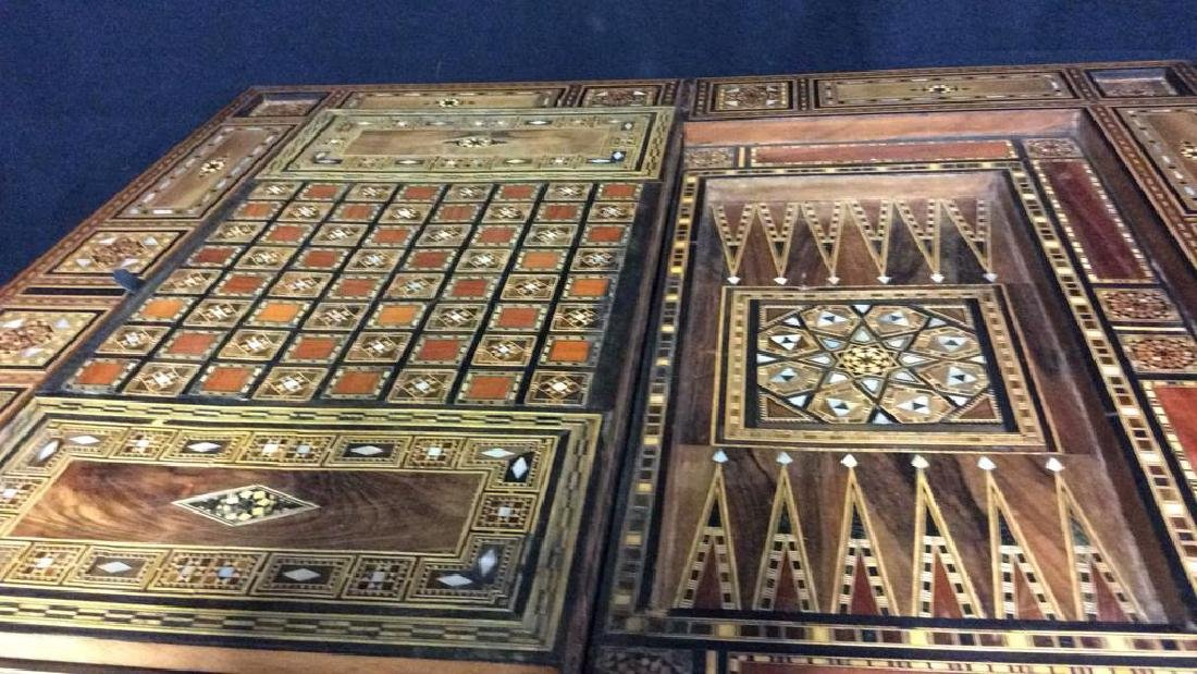 Wood W Mother of Pearl Inlay Serbian Game Table - 8