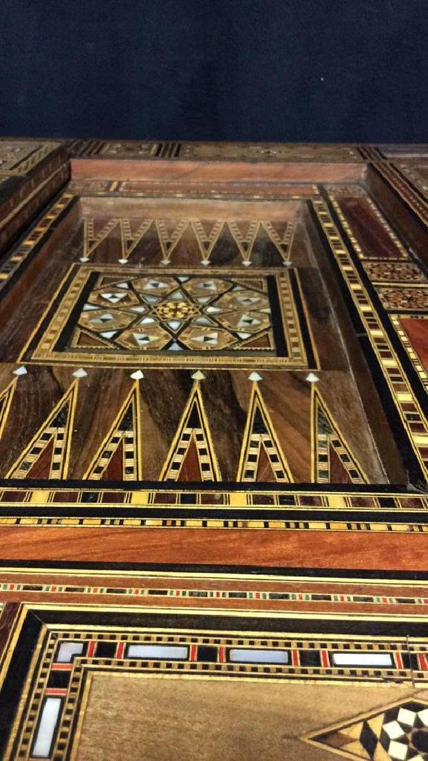 Wood W Mother of Pearl Inlay Serbian Game Table - 9