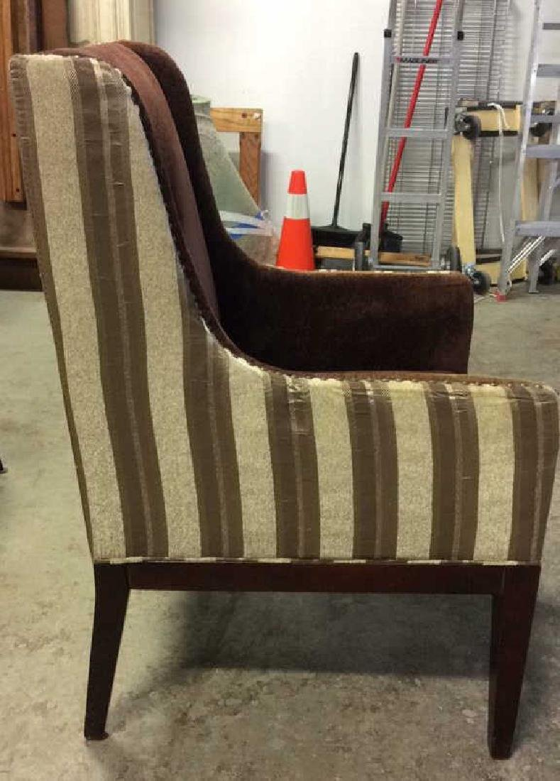 Multi Toned Wingback Striped Beaded Armchair - 3