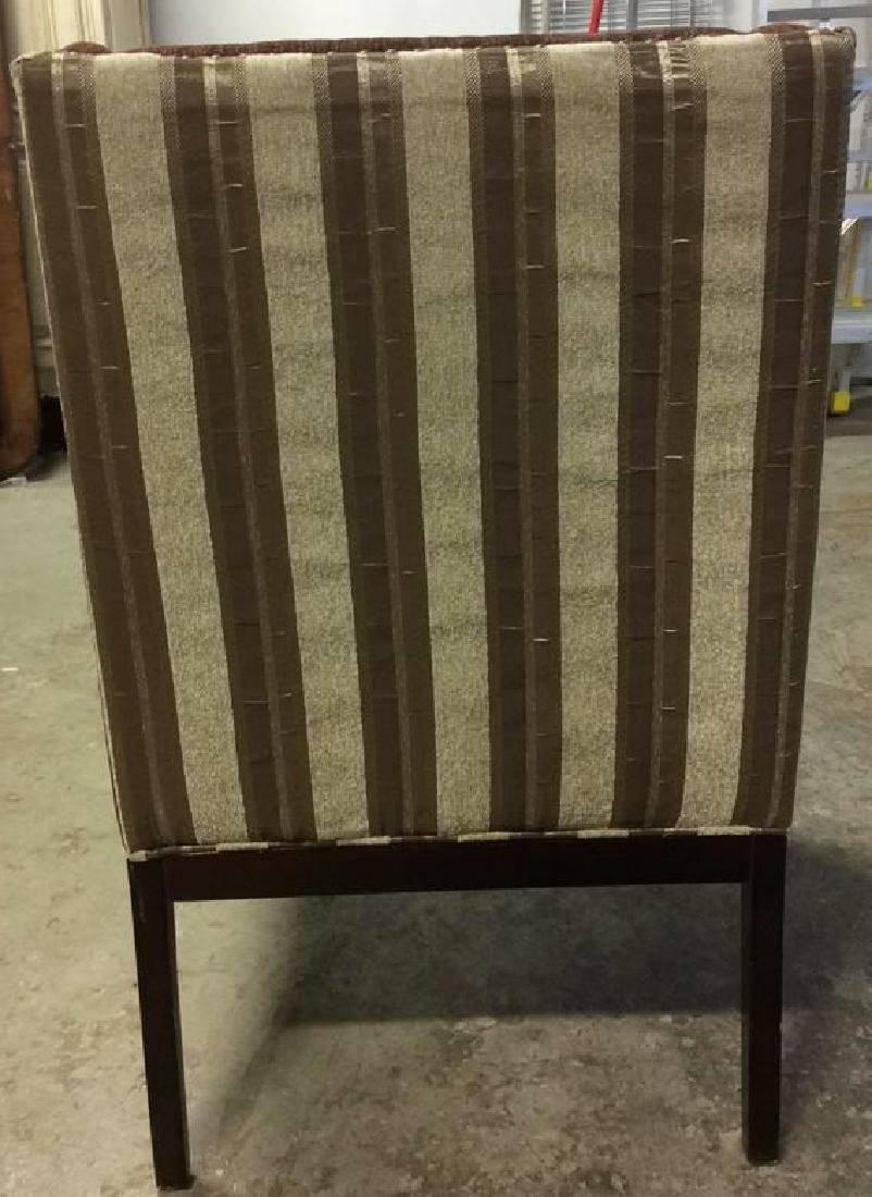 Multi Toned Wingback Striped Beaded Armchair - 4