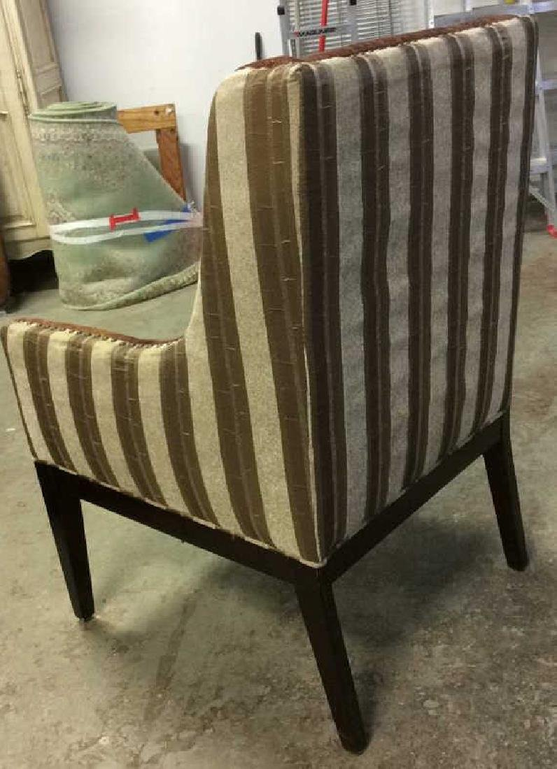 Multi Toned Wingback Striped Beaded Armchair - 5