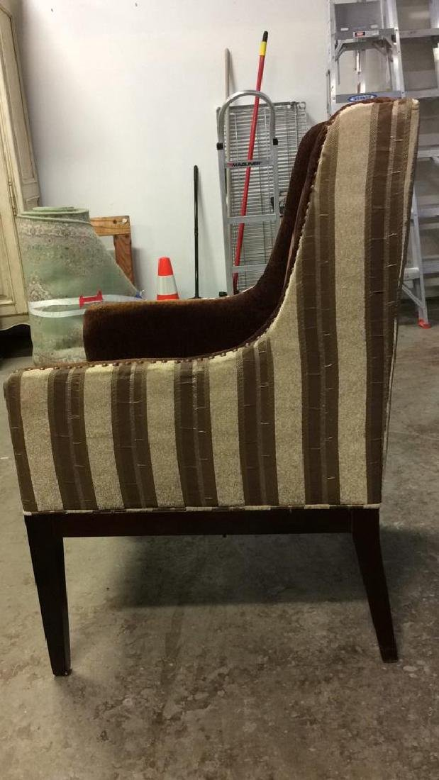 Multi Toned Wingback Striped Beaded Armchair - 6