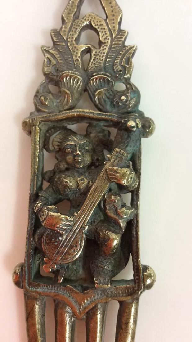 Antique Indian Bronze Hair Comb c1800s - 2