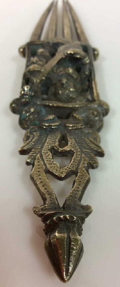 Antique Indian Bronze Hair Comb c1800s - 4