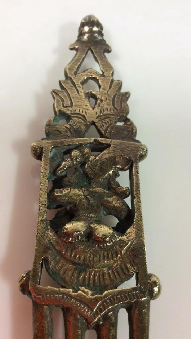 Antique Indian Bronze Hair Comb c1800s - 7