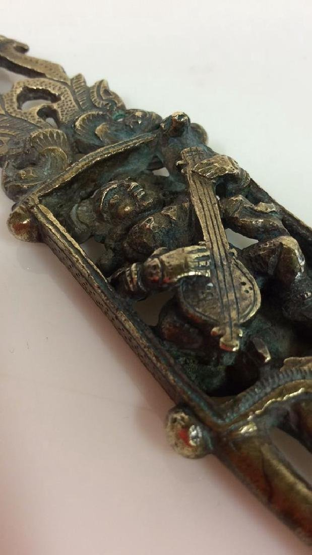 Antique Indian Bronze Hair Comb c1800s - 8