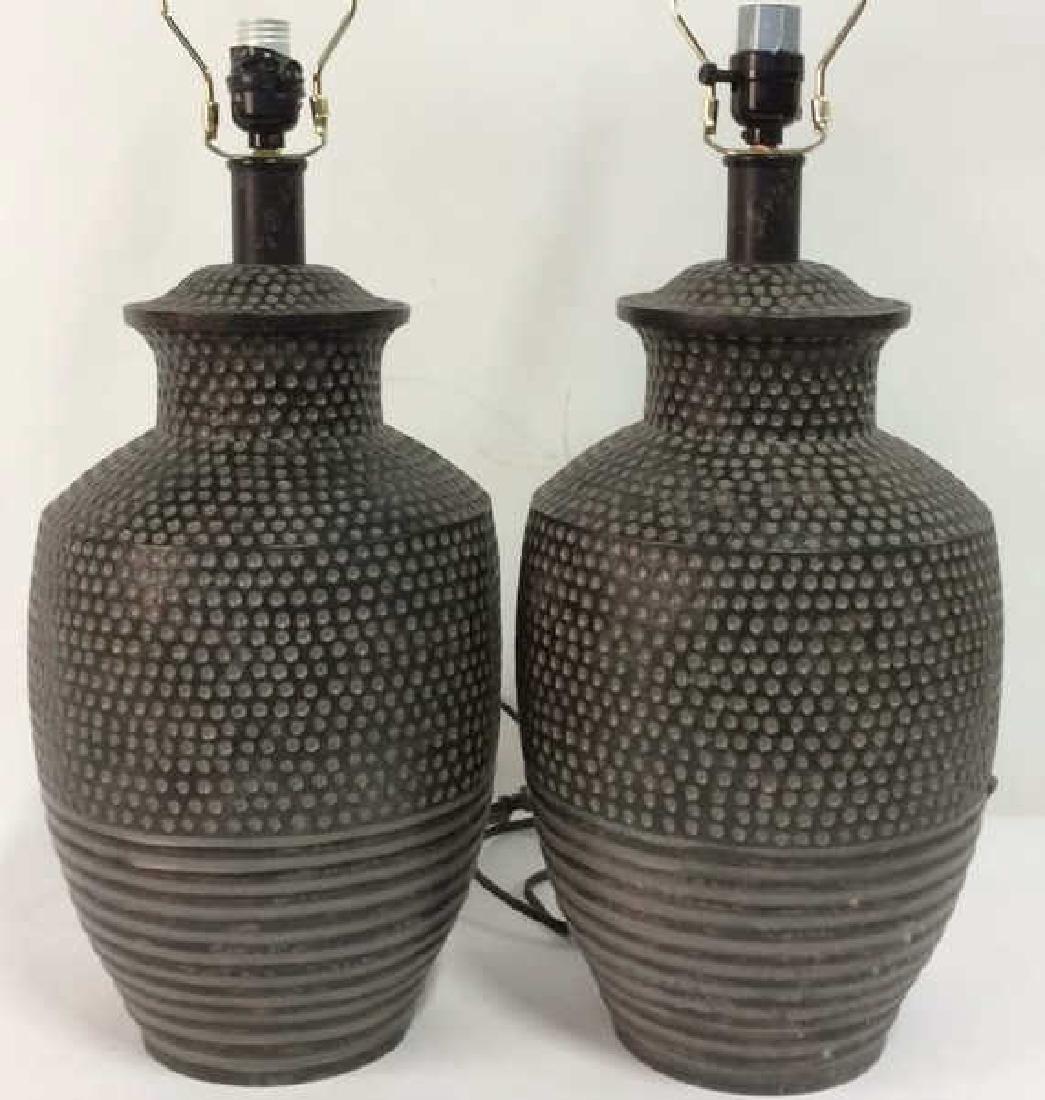 Pair Dot & Stripe Relief Detail Composite Lamps