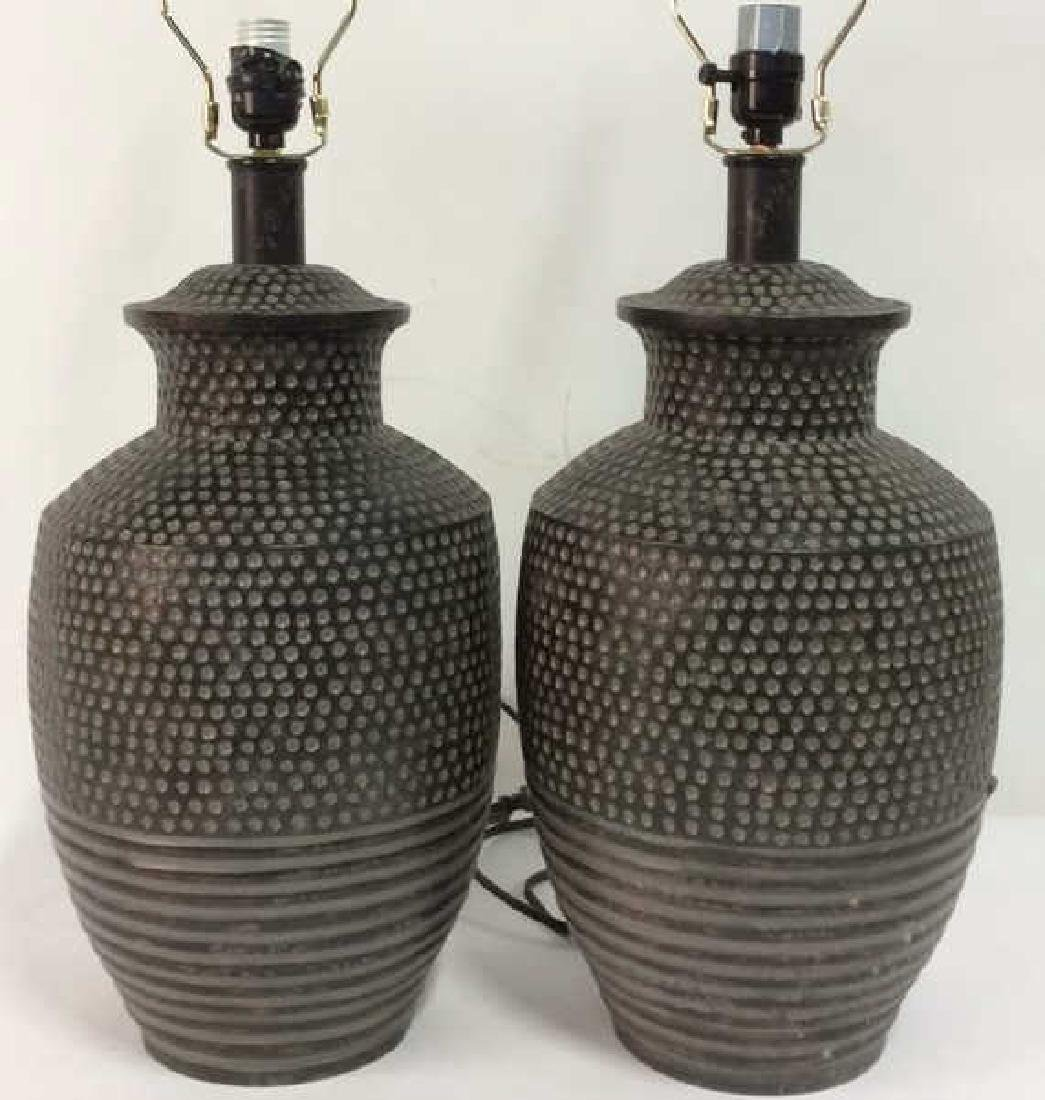 Pair Dot & Stripe Relief Detail Composite Lamps