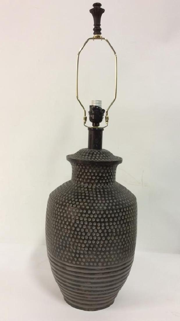 Pair Dot & Stripe Relief Detail Composite Lamps - 2