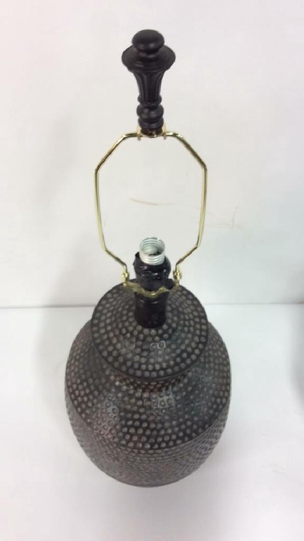 Pair Dot & Stripe Relief Detail Composite Lamps - 6