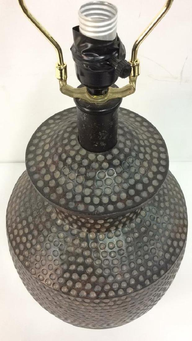 Pair Dot & Stripe Relief Detail Composite Lamps - 7
