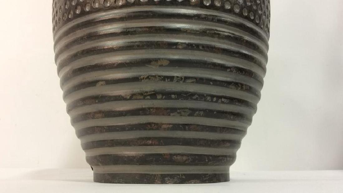 Pair Dot & Stripe Relief Detail Composite Lamps - 8