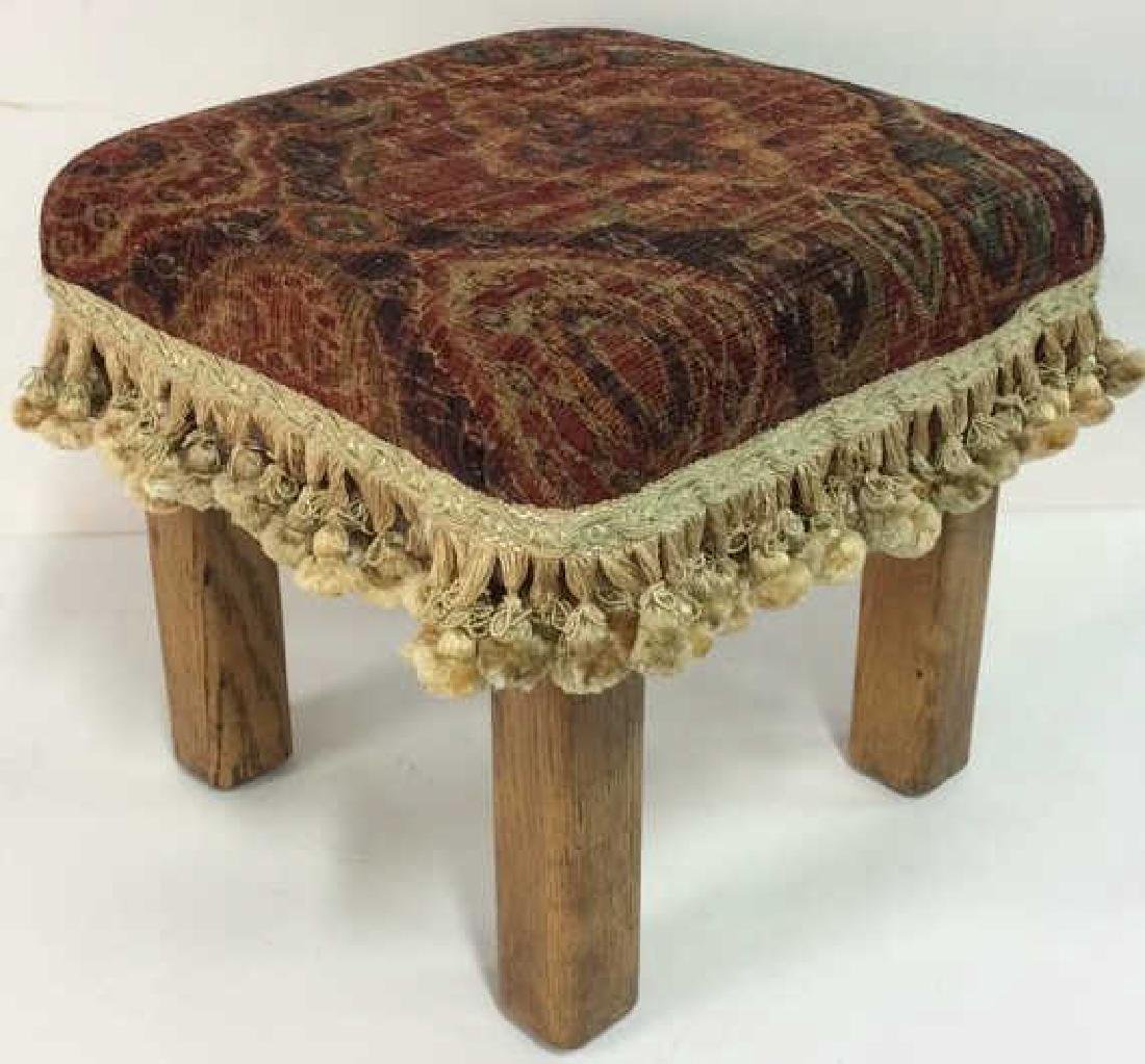 Cushioned Tasseled Wooden Foot Rest
