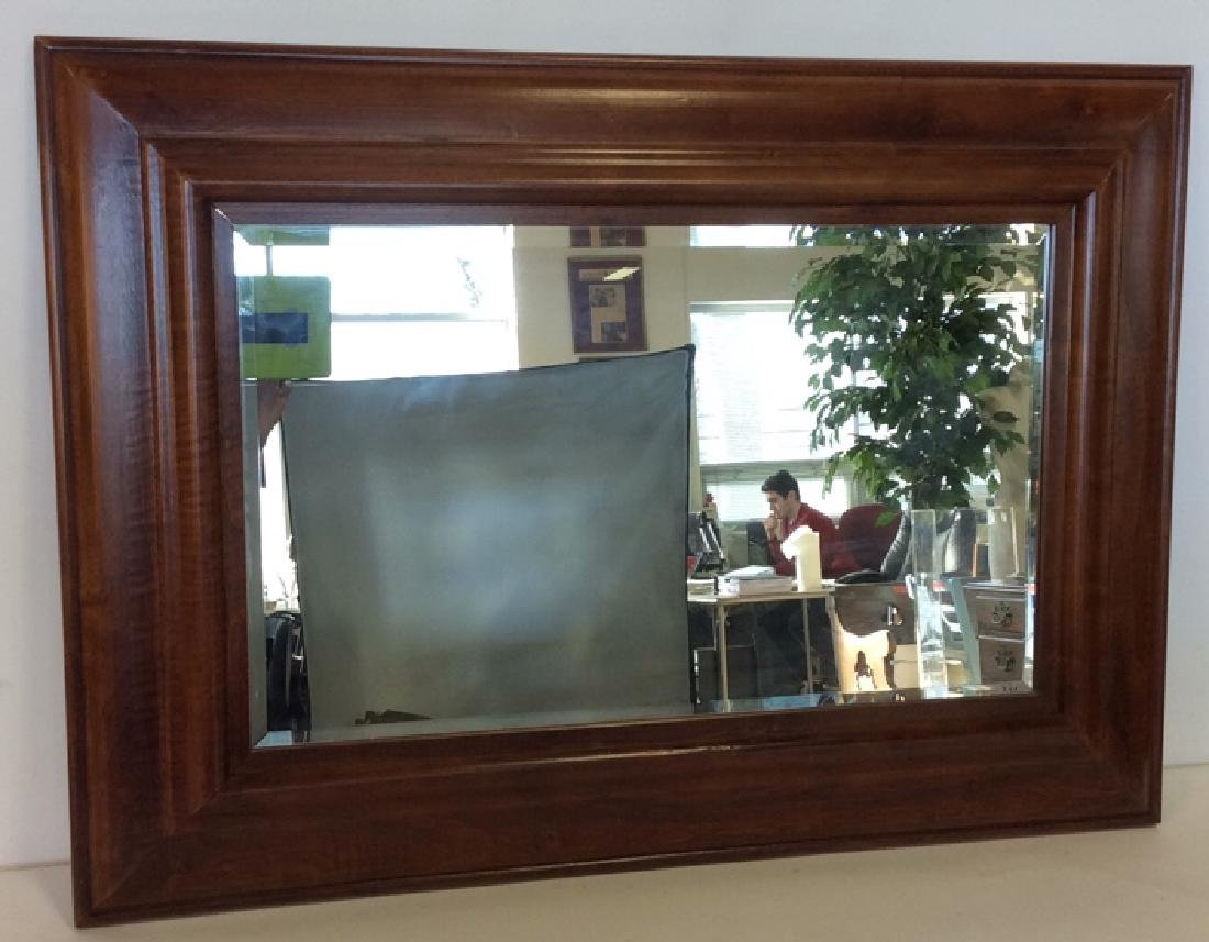 Light Brown Toned Wooden Frame Wall Mirror