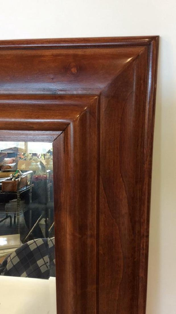 Light Brown Toned Wooden Frame Wall Mirror - 3