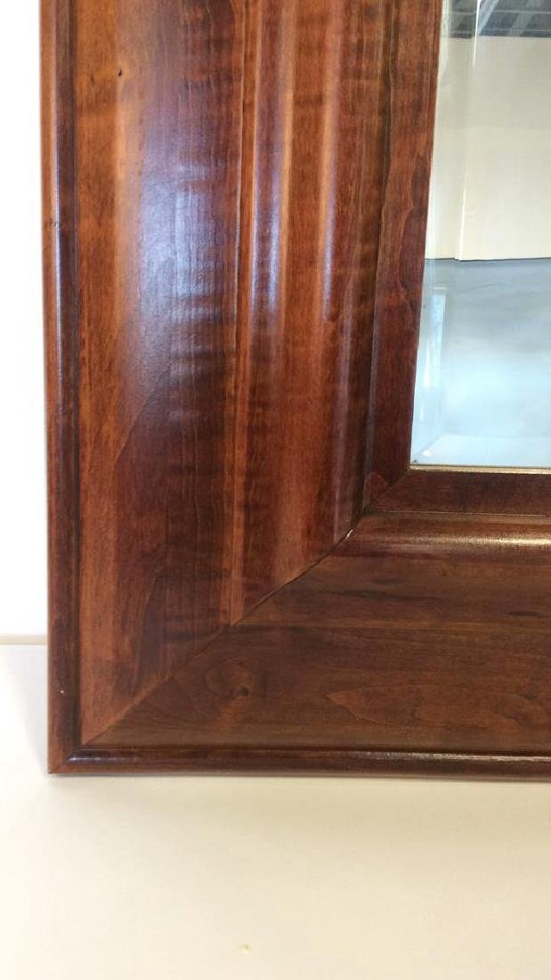 Light Brown Toned Wooden Frame Wall Mirror - 4