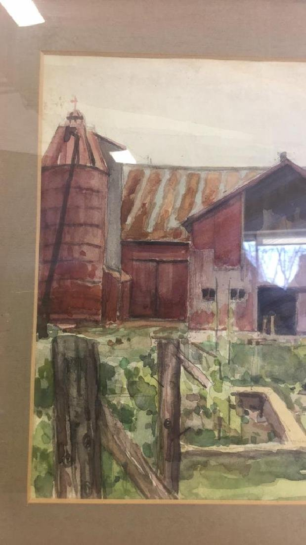 Watercolor Paint And Pencil Of Farm Scene