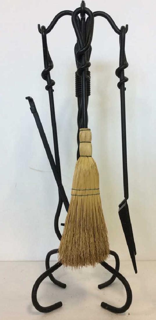 Lot 5 Black Toned Metal Fireplace Tools