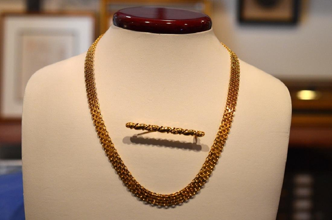 "Ladies20""Goldplate SterlingNecklace Gold Color Pin"