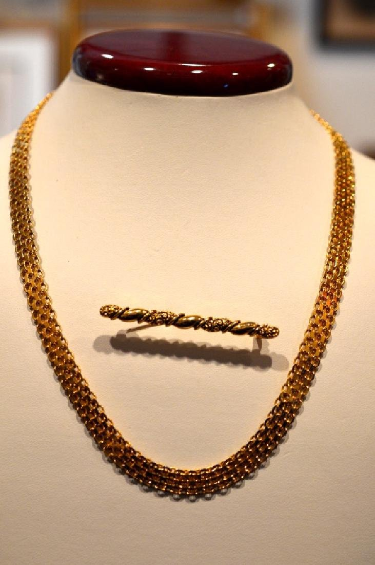 "Ladies20""Goldplate SterlingNecklace Gold Color Pin - 4"