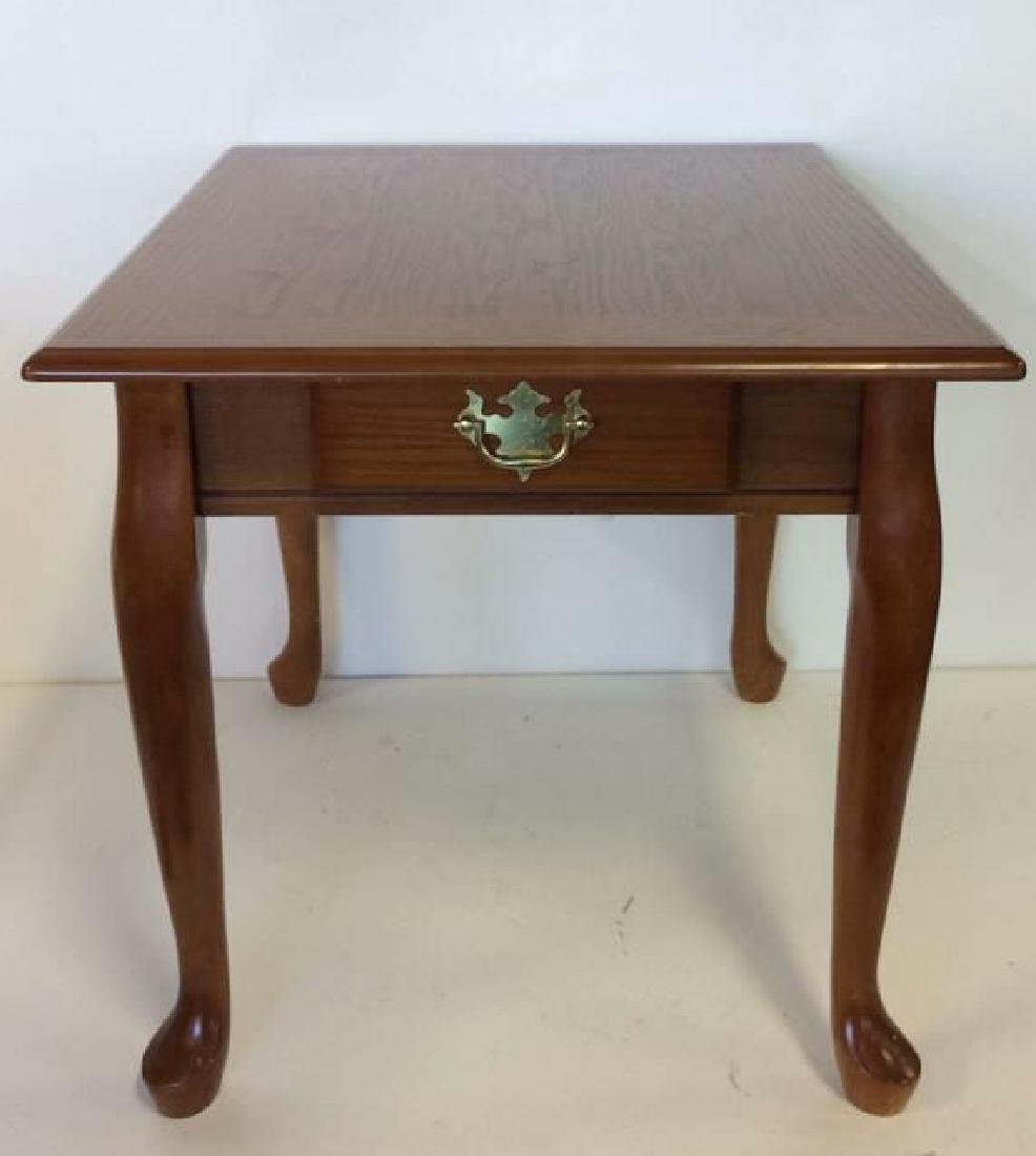 Wooden Footed Single Drawer Side Table - 3