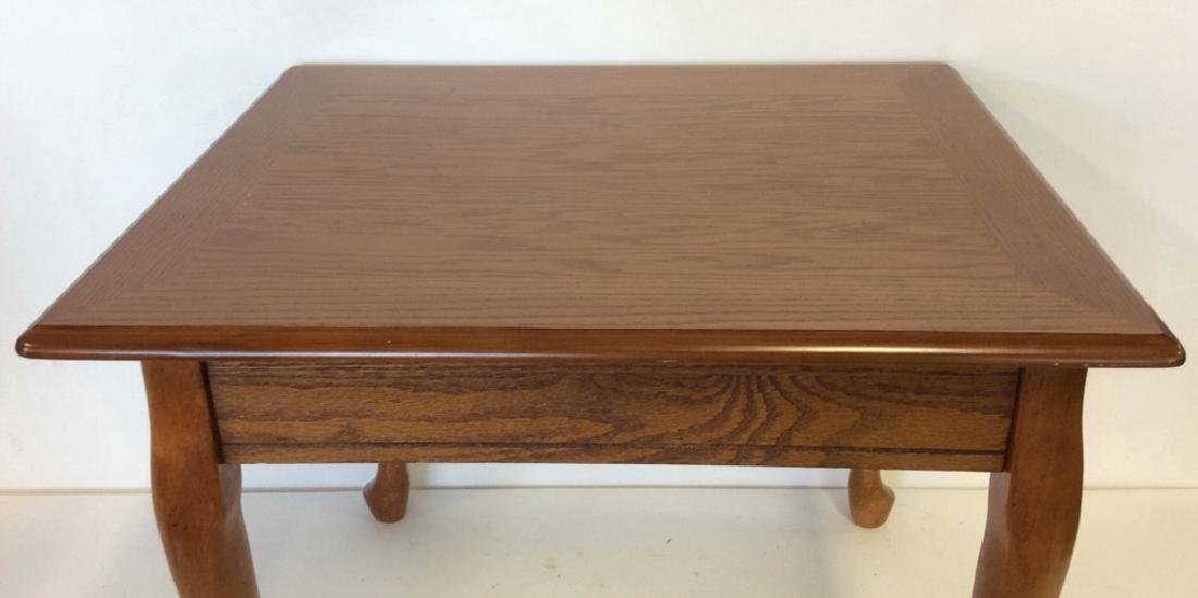 Wooden Footed Single Drawer Side Table - 8