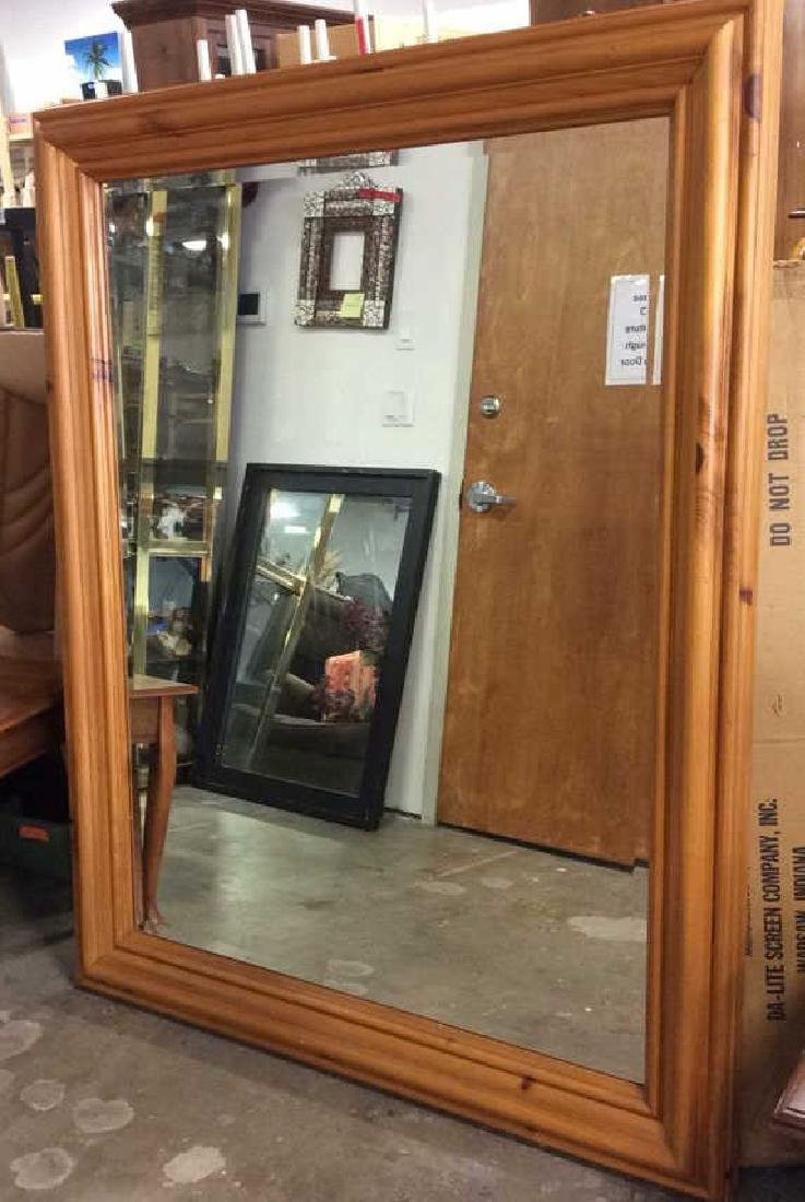 Large Wooden Frame Wall Mirror