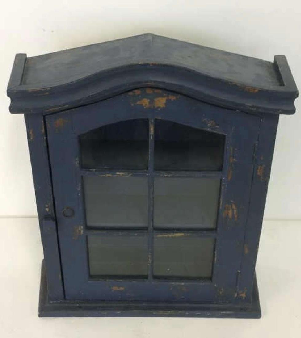 Navy Toned Wooden Trinket Case Cabinet W Window - 10
