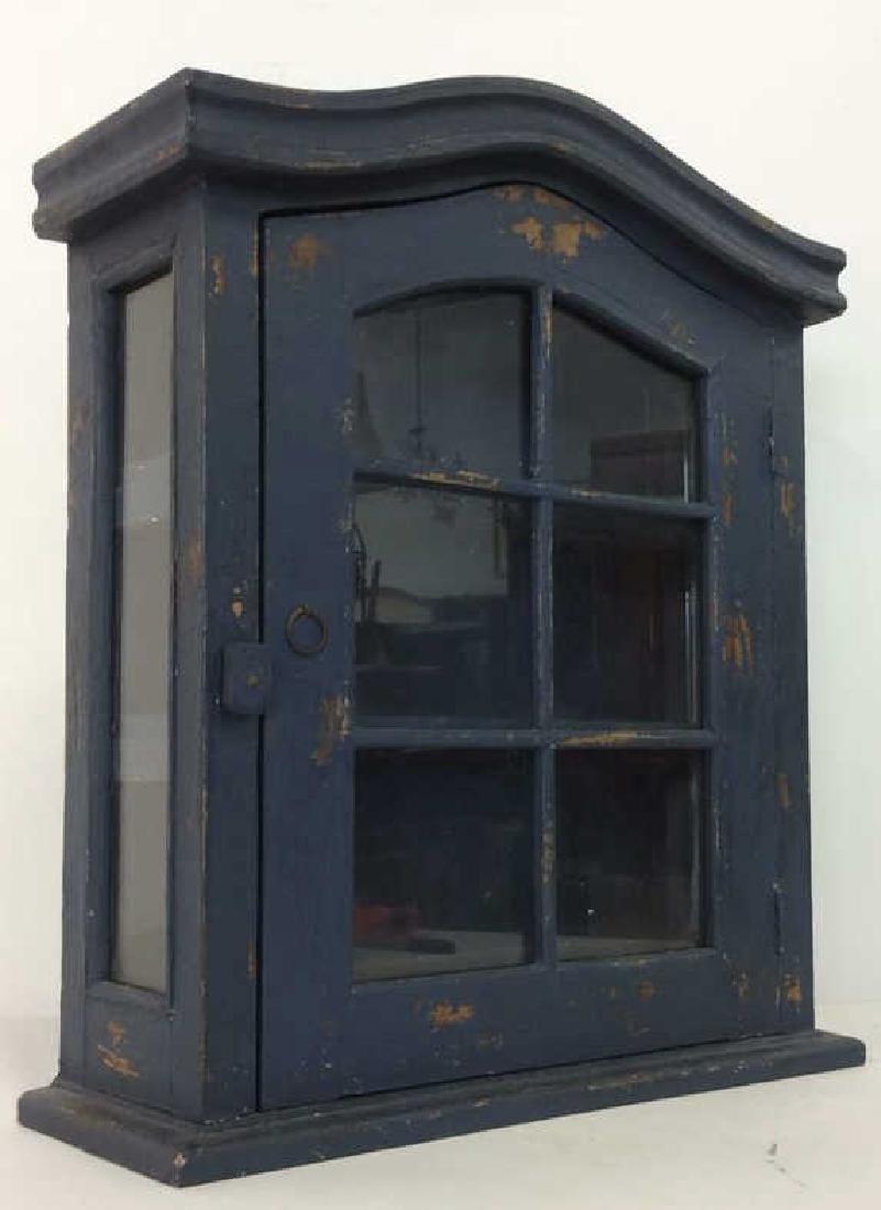 Navy Toned Wooden Trinket Case Cabinet W Window