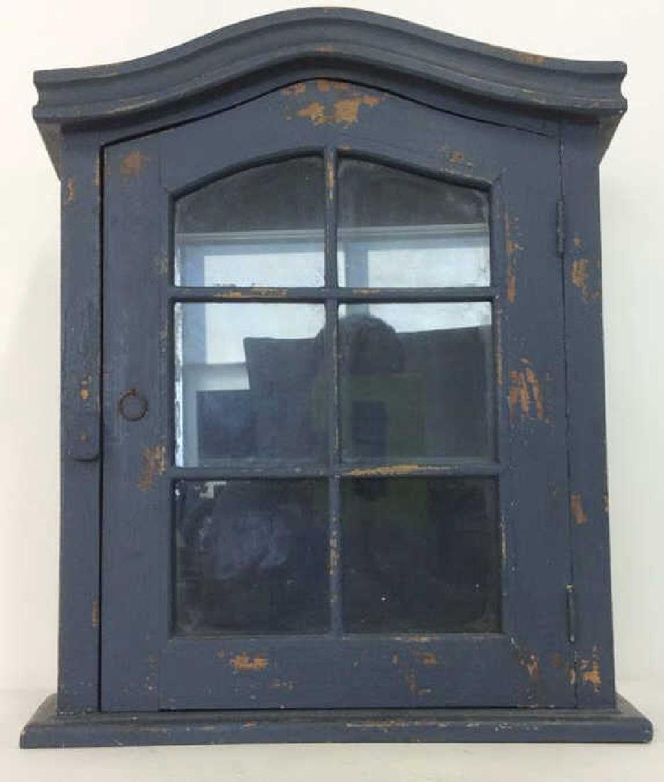Navy Toned Wooden Trinket Case Cabinet W Window - 2