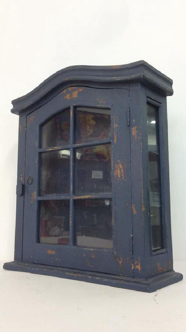 Navy Toned Wooden Trinket Case Cabinet W Window - 3