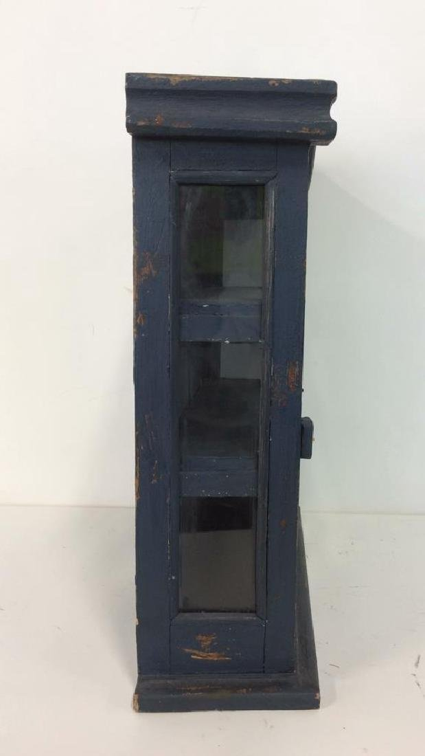 Navy Toned Wooden Trinket Case Cabinet W Window - 5