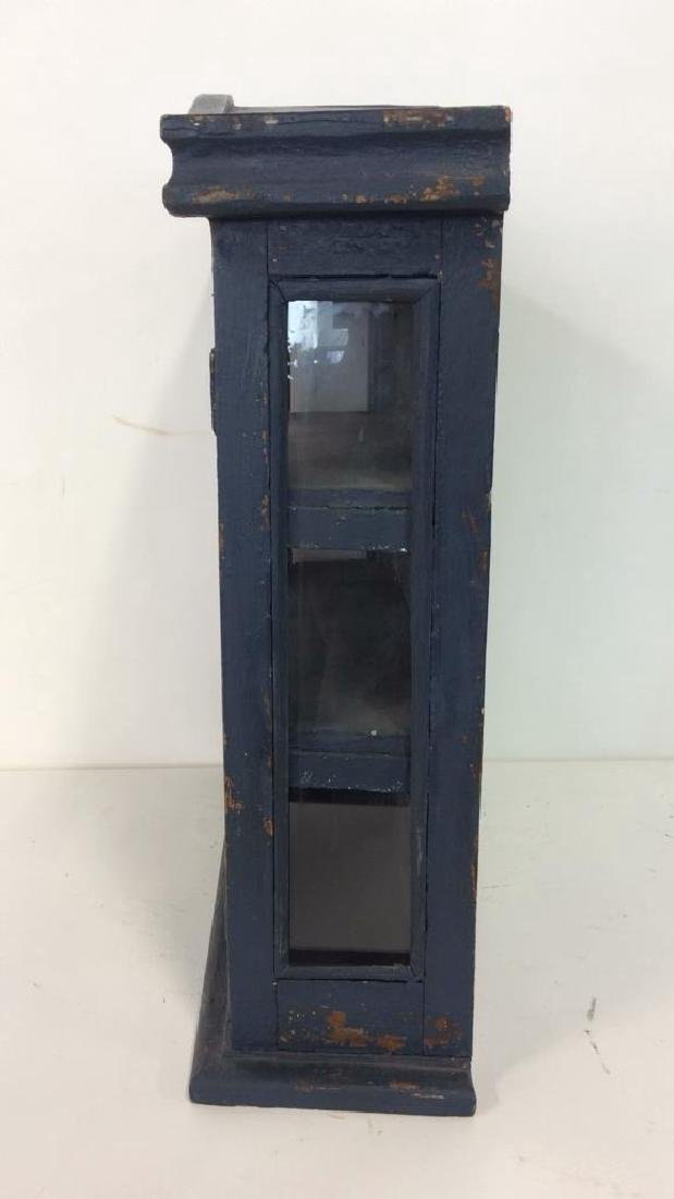 Navy Toned Wooden Trinket Case Cabinet W Window - 6